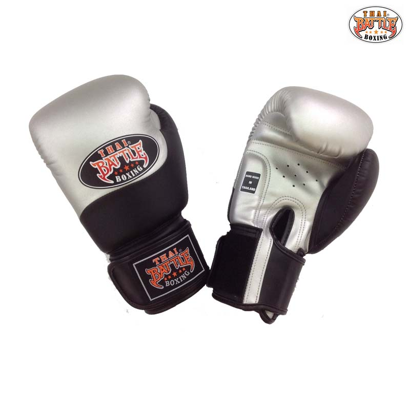 GSTB-S11 Boxing Gloves 2 tones-Semi Leather BLACK-SILVER - Thai Battle  Boxing - All Muay Thai Equipments | Thai battle Boxing is the shop at MBK