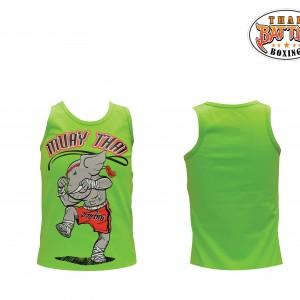 เสื้อกล้ามเด็กลายช้าง สีเขียว ใหม่